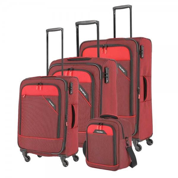 Travelite Derby Trolley-Set 4tlg S-M-L und Bordtasche Rot