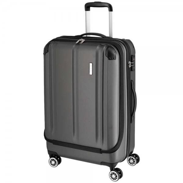 Travelite City 4-Rollen Trolley M mit Vortasche 68 cm Anthrazit