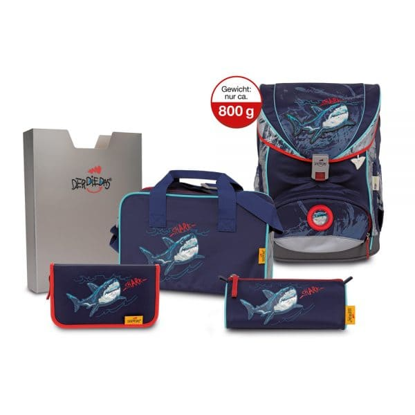 DerDieDas ErgoFlex Superflash Schulrucksack-Set 5tlg Blue Shark